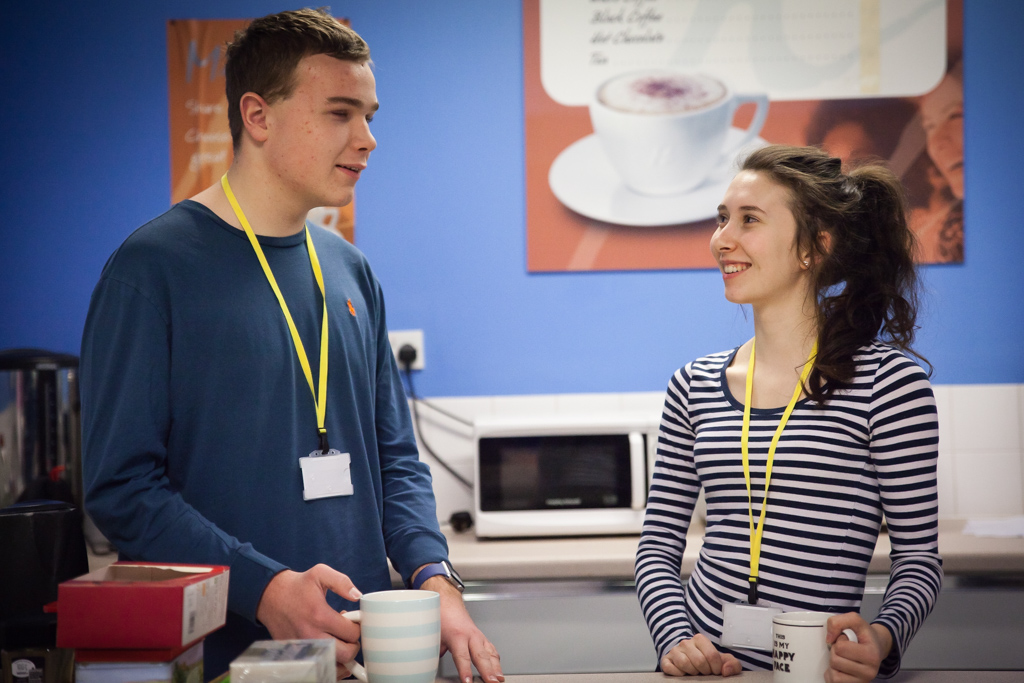 Students in the social area Kitchen