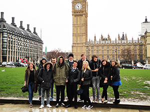 Students Outside Big Ben, London