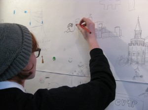 Student drawing as part of the big draw