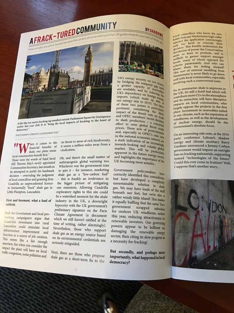 magazine article of past students work