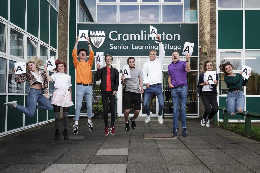 Students celebrating A Level success