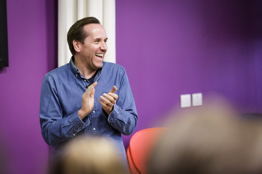 Actor Ben Miller speaks to students during his book event