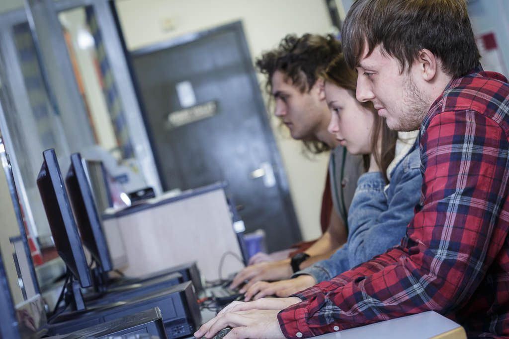Students working on computers in the ILC
