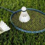 Badminton racket on the ground