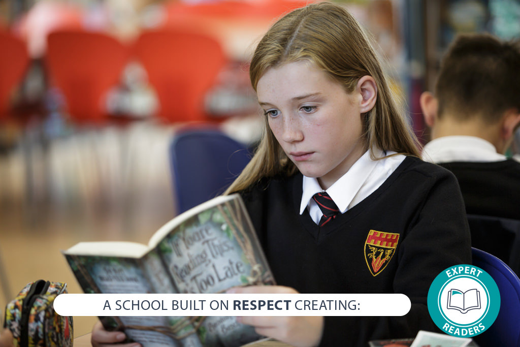 Image of student with text - A school built on RESPECT creating: expert readers