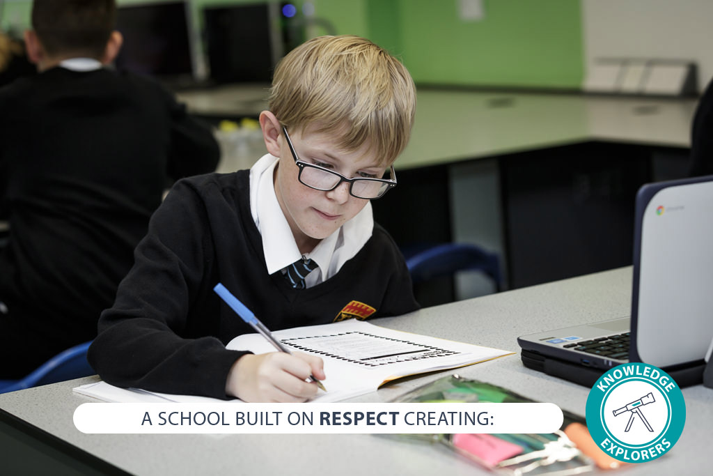 Image of student with text - A school built on RESPECT creating: knowledge explorers