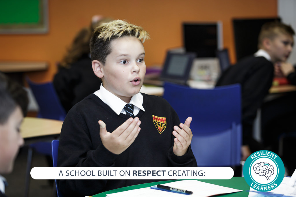 Image of student with text - A school built on RESPECT creating: resilient learners