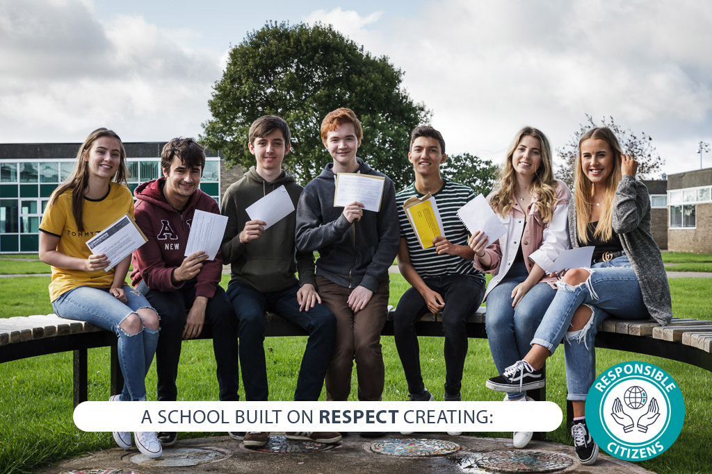 Image of student with text - A school built on RESPECT creating: responsible citizens
