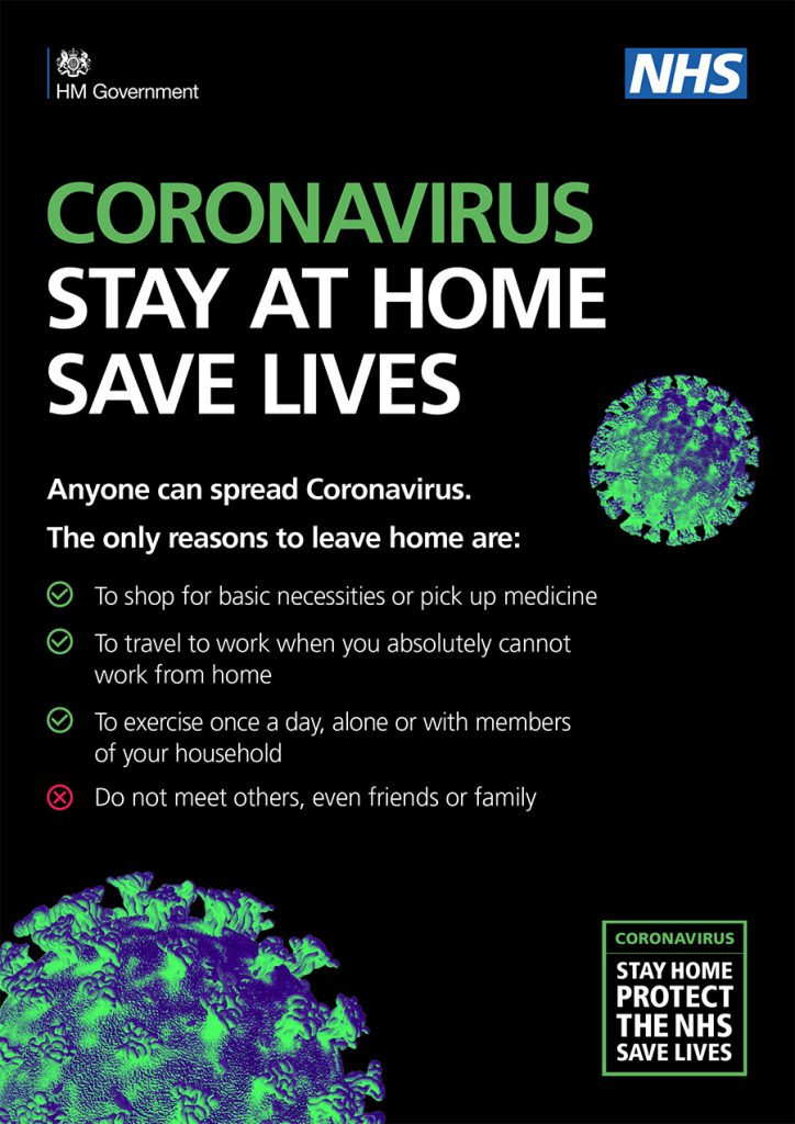 Public Health England Poster about Corona Virus - Stay at Home, Save Lives