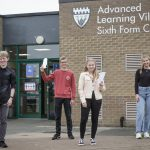 A Level Students celebrating their exam success